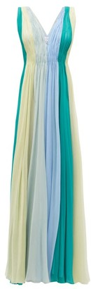 Luisa Beccaria Panelled Silk-chiffon Maxi Dress - Green Multi