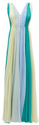 Luisa Beccaria Panelled Silk-chiffon Maxi Dress - Womens - Green Multi