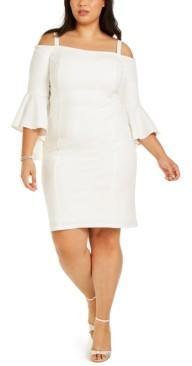 R & M Richards Plus Size Off-Shoulder Bell-Sleeve Dress