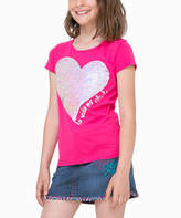 Desigual Pink & Purple Two-Tone Sequin Heart Tee - Toddler & Girls