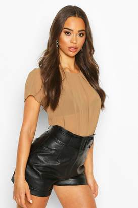 boohoo Pleat Front Cap Sleeve Shell Top