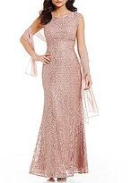 Ignite Evenings High Neck Sleeveless V-Back Sequined Lace Gown