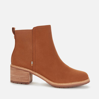 Toms Women's Marina Leather Heeled Ankle Boots - Tan