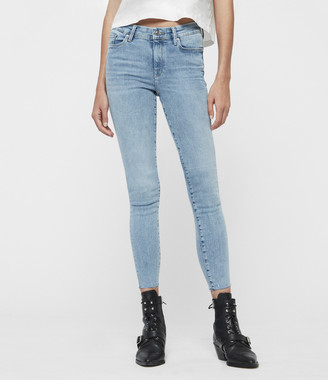 AllSaints Grace Ankle Fray Mid-Rise Skinny Jeans, Light Indigo Blue