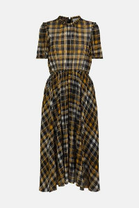 Just Female Brix Dress In Yellow Black Check - M
