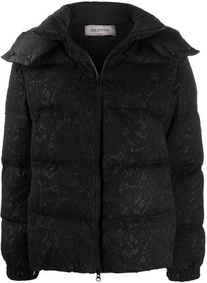 Valentino Floral Lace Zipped Puffer Jacket