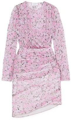 Giambattista Valli Ruched Floral-print Silk-chiffon Mini Dress