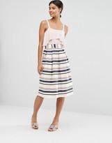 Asos Midi Prom Skirt in Variegated Stripe