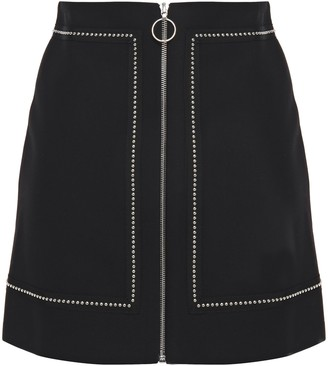 Maje Studded Zip-detailed Woven Mini Skirt