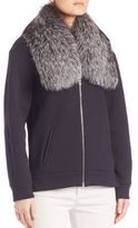 Derek Lam Fur-Collar Cotton Bomber Jacket