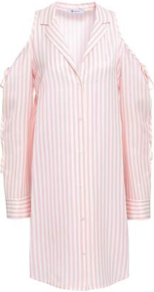 Alexander Wang Cold-shoulder Striped Twill Mini Shirt Dress