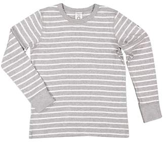 Polarn O. Pyret Children's GOTS Organic Cotton Stripe Long Sleeve Top, Grey