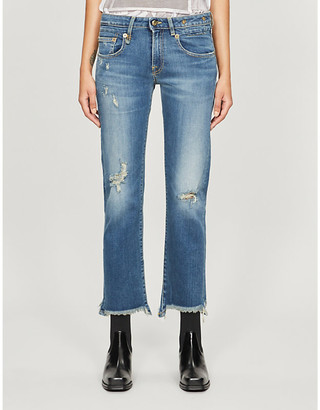 R 13 Distressed straight low-rise jeans