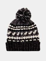 Burton Burton Black And Grey Pattern Knitted Bobble Hat