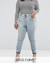Asos Farleigh Mom Jean In Annabelle Wash With Busted Knees