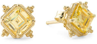 14k Gold Canary Crystal Stud Earrings