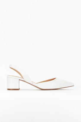 Wallis White Slingback Block Heel Shoe