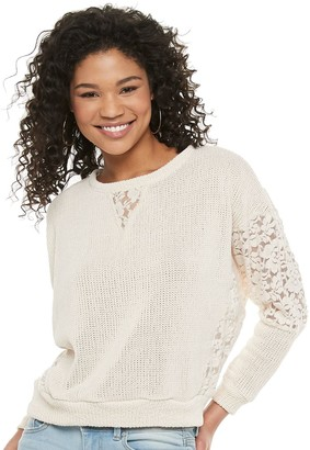 Juniors' Hint of Mint Lace Trim Chenille Sweater