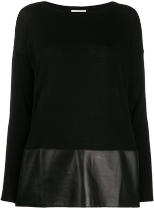 Snobby Sheep Faux-Leather Hem Jumper
