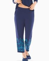 Soma Intimates Ankle Pajama Pants Flourish Border Navy