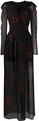 John Richmond Rose-Print Panelled Dress