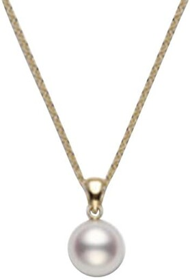 Mikimoto Essential Elements 18K Yellow Gold & 7MM White Cultured Pearl Pendant Necklace