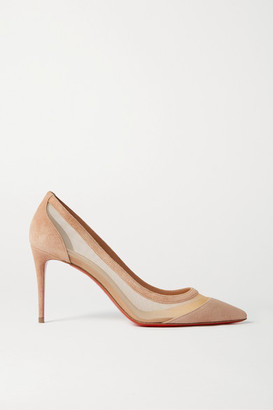 Christian Louboutin Galativi 85 Suede And Mesh Pumps - Neutral