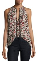 A.L.C. Levi Sleeveless Floral Silk Top, Red/Multicolor