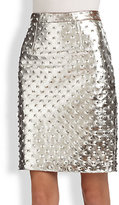 MILLY Studded Metallic Leather Pencil Skirt