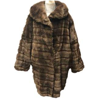 Emporio Armani Brown Faux fur Coat for Women Vintage