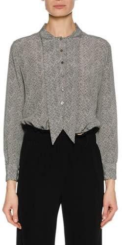 Giorgio Armani Long-Sleeve Button-Front Herringbone Silk Blouse w/ Necktie