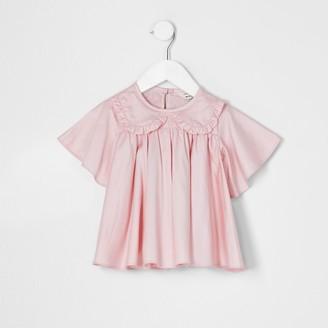 River Island Mini girls Pink frill poplin top