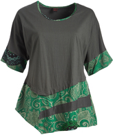 Aller Simplement Gray & Green Geometric Color Block Tunic - Plus Too
