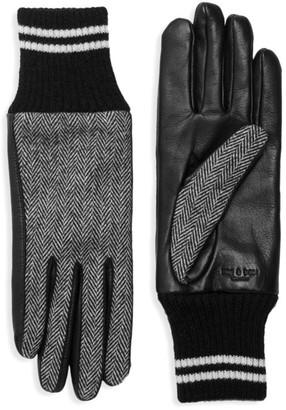 Rag & Bone Leather & Herringbone Knit Skit Gloves