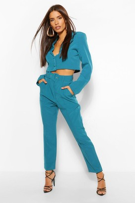 boohoo Woven High Waisted Skinny Trousers