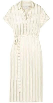 Co Belted Striped Satin-jacquard Shirt Dress