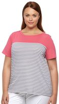 Croft & Barrow Plus Size Striped Button-Shoulder Top