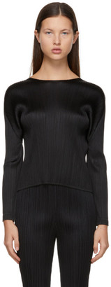 Pleats Please Issey Miyake Black Monthly Colors December Crewneck Sweater
