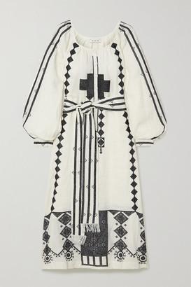 Fil De Vie Souk Belted Embroidered Linen Kaftan - Cream