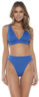 Becca by Rebecca Virtue Fine Line Camilla Rib Over The Shoulder Top (Blue Dazzle) Women's Swimwear