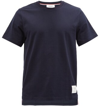 Thom Browne Tricolour-stripe Cotton T-shirt - Navy