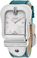 Fendi Women's 'B.' Swiss Quartz Stainless Steel and Leather Dress Watch, Color:Blue (Model: F380014581D1)