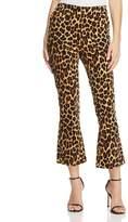 Frame Cheetah-Print Crop Flare Velvet Pants