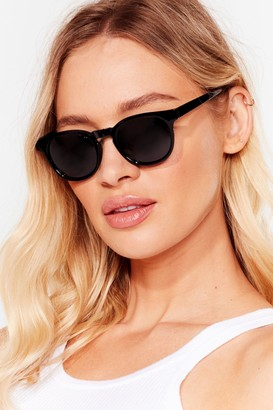 Nasty Gal Womens Down to a T-Bar Round Sunglasses - Black - One Size