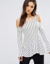 Daisy Street Striped Cold Shoulder Top With Flare Sleeve