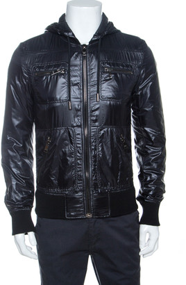 Dolce & Gabbana Black Nylon Zip Front Hooded Jacket XS
