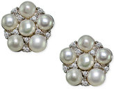 Giani Bernini Freshwater Pearl (3mm) & Cubic Zirconia Cluster Stud Earrings in Sterling Silver, Created for Macy's