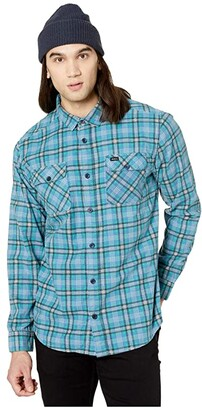 RVCA Panhandle Long Sleeve Flannel (Nautical Blue) Men's Clothing