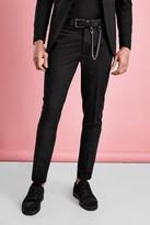 boohoo Mens Black Super Skinny Tuxedo Trouser, Black