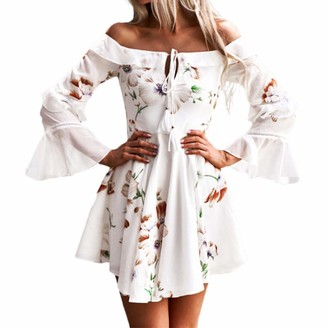 KPILP Womens Summer Boho Maxi Dress Evening Cocktail Party Beach Dresses Sundress Elegant Ruffle Batwing Long Sleeve Charming Swing Flowy A Line Mini Floral Dress(White M)